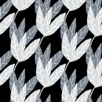 抽象的なモノクロは、黒い背景に壁紙を残します。熱帯のシームレスなパターンを手描きします。生地、テキスタイルプリント、ラッピングのデザイン。ベクトルイラスト