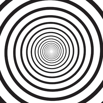 Abstract monochrome psychedelic square background with circular swirl, helix or vortex. backdrop with round optical illusion or radial twist. modern illustration in black and white colors.