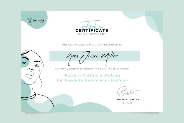 Abstract monocolor fashion certificate template