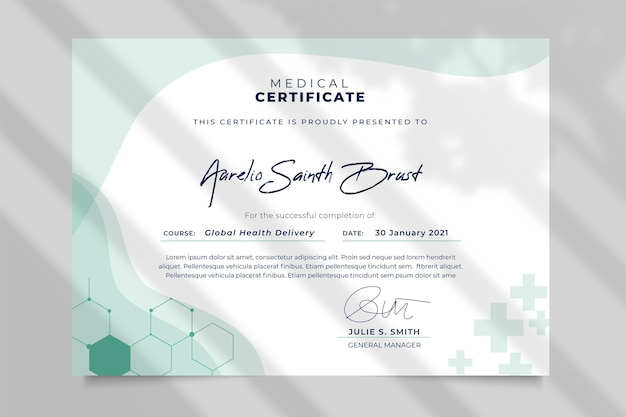 Abstract monocolor medical certificate