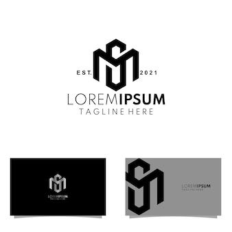 Abstract monogram hexagonal ms or sm initials logo concept