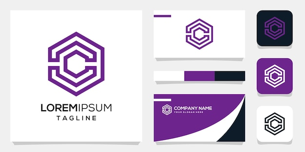 Abstract monogram initial c logo background template, business card design