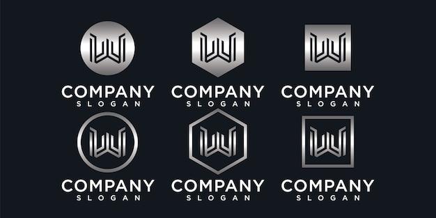 会社の抽象的なモノグラム文字wロゴ