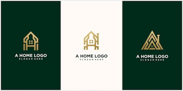 ゴールドカラーの抽象的なモノグラムロゴe文字デザインセット