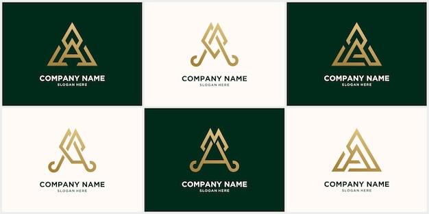 Abstract monogram logo a letter design set, in gold color