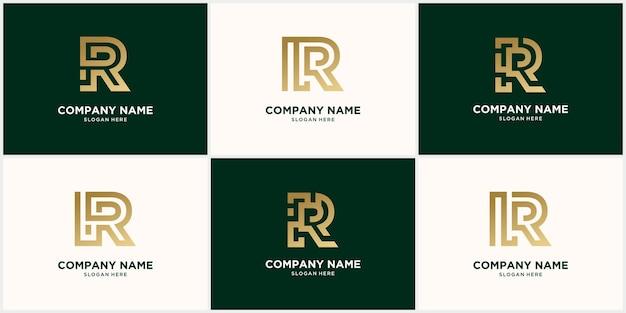 Abstract monogram logo r letter design set, in gold color