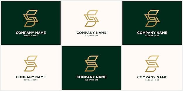 ゴールドカラーに設定された抽象的なモノグラムロゴの文字デザイン