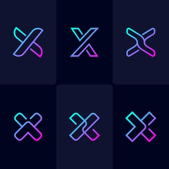 Abstract monoline letter x logo set