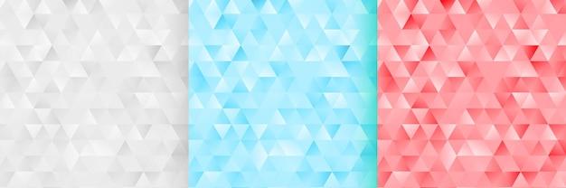 3つの抽象的な単調な三角形のパターンの背景セット