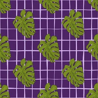 Abstract monstera leaves seamless pattern on lines background. summer tropic foliage backdrop.