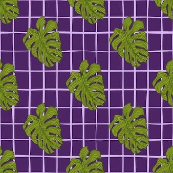 抽象的なモンステラは、線の背景にシームレスなパターンを残します。夏の熱帯の葉の背景。