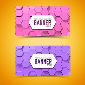 Abstract mosaic geometric horizontal banners with purple and pink hexagons
