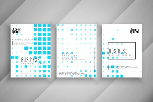 抽象的なモザイクパターンビジネスパンフレットテンプレートセット