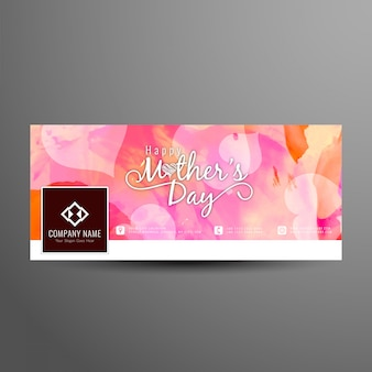 Abstract mother's day facebook cover design template