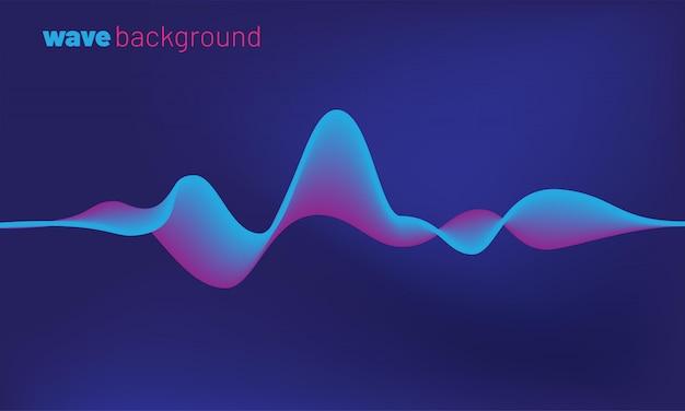 抽象化された運動音波背景。青い音声認識のコンセプト