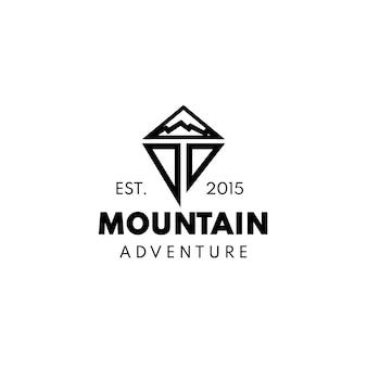 抽象的な山の冒険のロゴ Premiumベクター