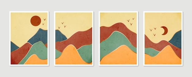 抽象的な山の現代的な美的背景の風景。コレクションモダンミニマリストアートプリント