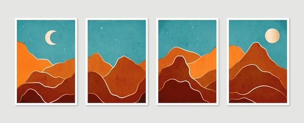 抽象的な山の現代的な美的背景風景コレクション現代のミニマリストアートプリント