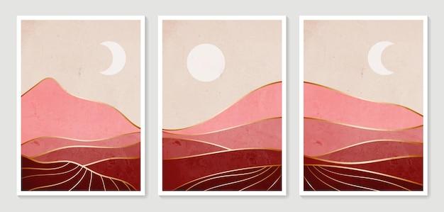 추상 산 현대 미적 풍경. 컬렉션 모던 미니멀 아트 프린트.
