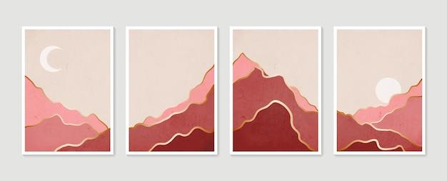 抽象的な山の現代的な美的風景コレクション。モダンミニマリストアートプリント