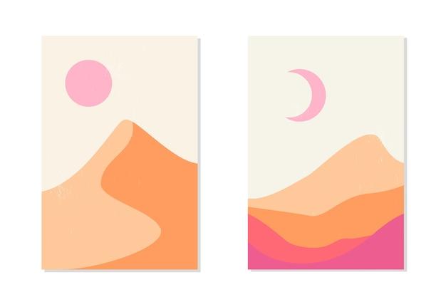 砂丘、太陽と月と抽象的な山の風景と砂漠。