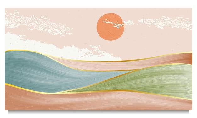 Абстрактный фон горный пейзаж. креативные минималистичные ручные росписи иллюстраций современного искусства середины века с линией золотого арта