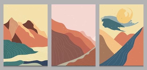 Обложка абстрактный горный пейзаж