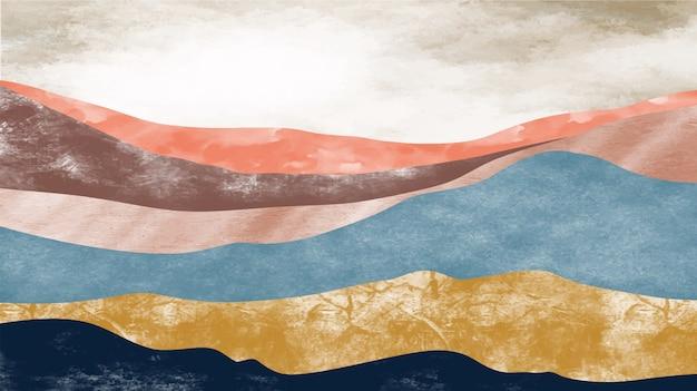 Абстрактный горный пейзаж, природный ландшафтный фон. креативная минималистская ручная роспись.