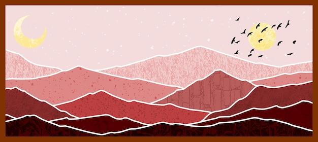 Абстрактная горная живопись, абстрактный фон, premium векторы