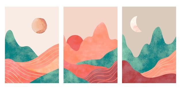 추상 산입니다. 사막, 산의 태양 또는 달이 있는 미학적 미니멀리스트 풍경. 수채화 및 종이 질감 인쇄, 벡터 포스터입니다. 그림 산 풍경, 여행 예술 최소한의 장면