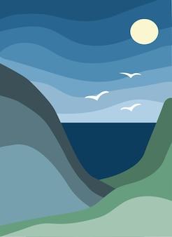 スタイリッシュな背景の抽象的な山と海
