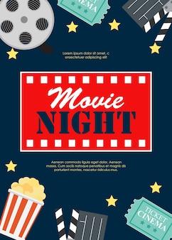 リール、古いスタイルのチケット、大きなポップコーン、クラッパーシンボルアイコンと抽象的な映画夜の映画館のフラットバックグラウンド。