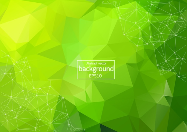 Abstract multi green polygonal space background with connecting dots and lines