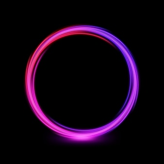 Abstract multicolor circle line of light