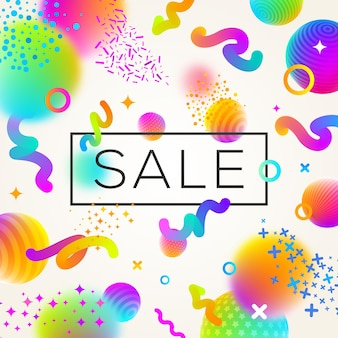 Abstract multicolored background with sale banner.