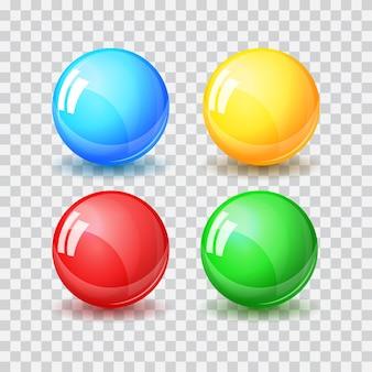 抽象的な色とりどりのボール、リアルなベクトルイラストデザイン