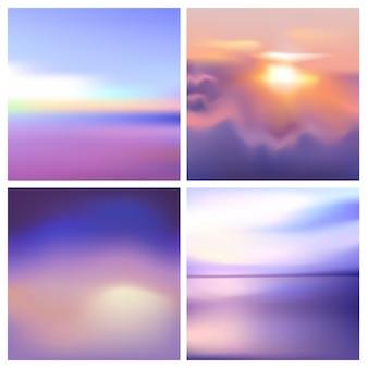 추상적 인 색된 흐린 된 배경 세트입니다. 광장 배경 흐리게 설정-하늘 구름 바다 오션 비치 색상