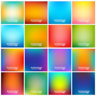 Abstract multicolored gradient background set.