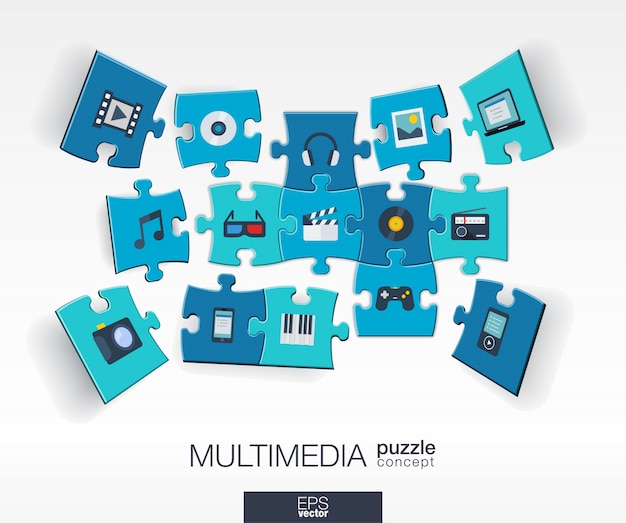 接続されているカラーパズル、統合されたアイコンと抽象的なマルチメディアの背景。技術、デジタル、音楽、映画、ゲーム、視点の作品とインフォグラフィックコンセプト。図。