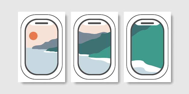 Abstract mural wall art with air plane window frame