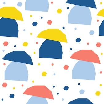 추상 버섯 원활한 패턴 배경입니다. 디자인 카드, 카페 메뉴, 벽지, 여름 선물 앨범, 스크랩북, 휴일 포장지, 아기 기저귀, 가방 프린트, 티셔츠 등을 위한 유치한 수제 공예