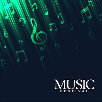 Abstract music background with green neon lights
