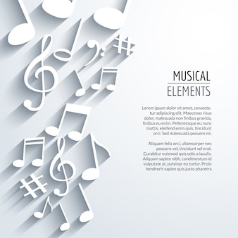 Abstract music background with notes with shadows