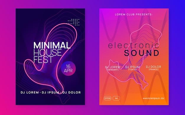 추상 음악입니다. 에너지 콘서트 초대 세트입니다. 동적 유체 모양과 선. 추상 음악 전단지입니다. 테크노 dj 파티. 일렉트로 댄스 이벤트. 전자 트랜스 사운드. 클럽 포스터.