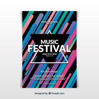 抽象的な音楽祭ポスターテンプレート