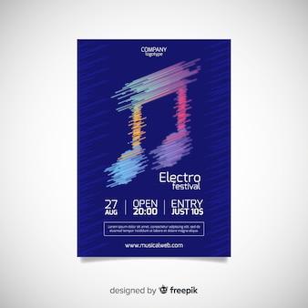 Шаблон плаката фестиваля абстрактной музыки Бесплатные векторы