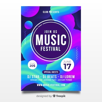 Abstract music festival poster template