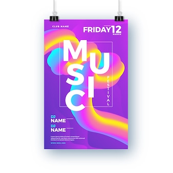 Abstract music festival poster with colorful 3d shape