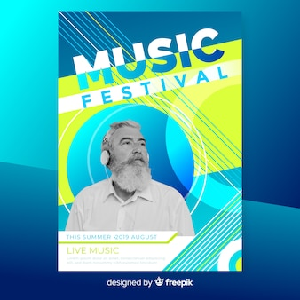 Abstract music festival poster with photo