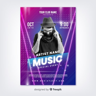 Abstract music festival template with photo